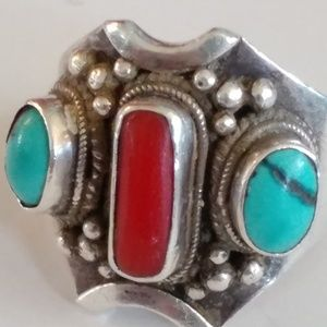 Other - Vintage Tibetan Nepalese Turquoise Coral Ring